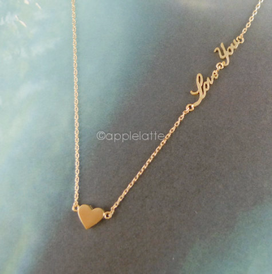 Heart Necklace With Love You