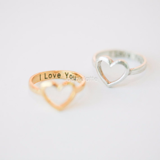 "open heart ring ""I Love You"" gold silver sterling silver 925 love"