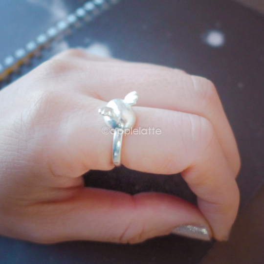 cute cupid wings ring in sterling silver 925, wing ring, baby angel wings ring, angel ring, sterling silver ring