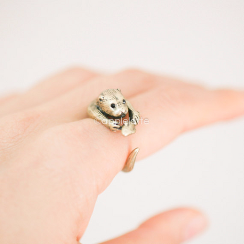 Otter Ring,Sea Otter Jewelry, Animal ring, Animal Jewelry
