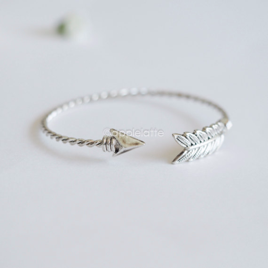 feather in sterling silver for item women adjustable arrow bracelet