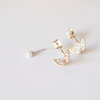 cubic butterfly with pearl earrings, sparkle butterfly earrings, pearl post earrings, bridesmaid gift
