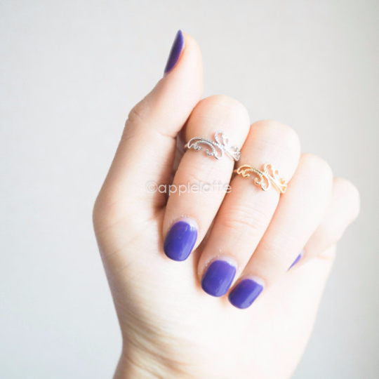 dainty filigree lace knuckle ring in gold/ silver , floral lace knuckle ring, midi ring, layering ring, pinky ring