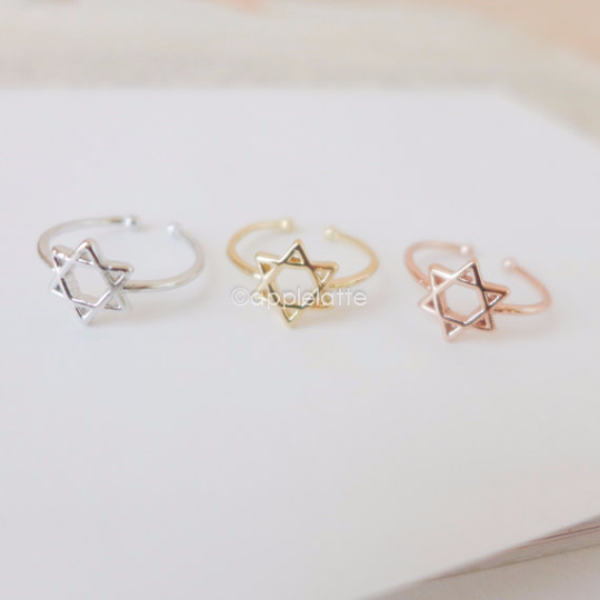 Star of David ring in gold, silver or rose gold
