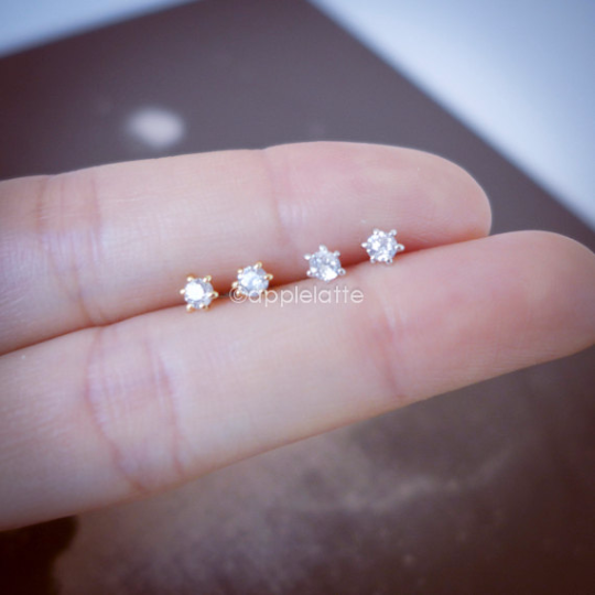 tiny clear crystal post earrings, cubic zirconia studs, simple everyday earrings