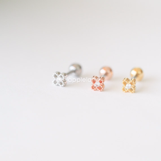 Tiny Flower Barbell Cartilage, Tragus Ear Piercing, 16 Gauge,Cartilage Earring,Single Earring,Tragus earring, Screw Back,Helix earring_P145