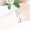 Shiny Polished Metal Cuff, unbalanced rectangle bracelet, geometric cuff, simple bangle, cuff, stretch bracelet, silver metal bangle