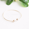 double crystal ball bracelet in gold, silver or rose gold, dainty cuff, stacking bangle, bridesmaid gift, minimal bracelet, ball bangle
