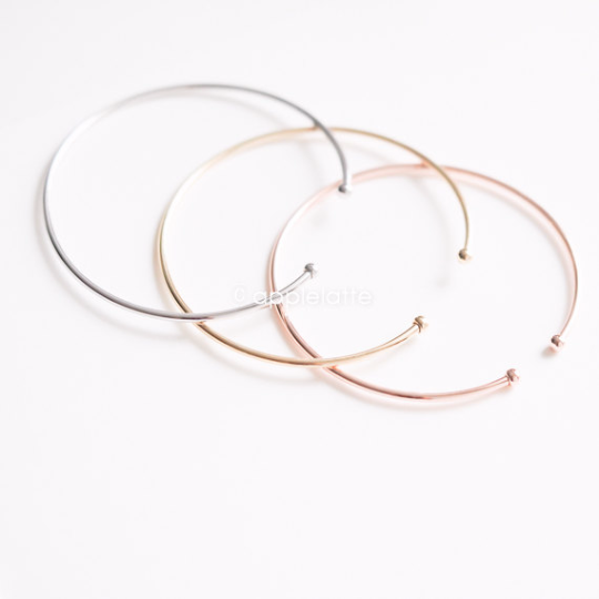 simple thin bracelet in gold, silver or rose gold, dainty cuff, stacking bangle, bridesmaid gift, minimal bracelet, ball bangle