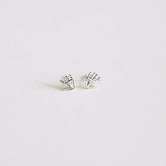 tiny palm earrings in sterling silver 925, tiny hand studs, fortune teller palm reader jewelry