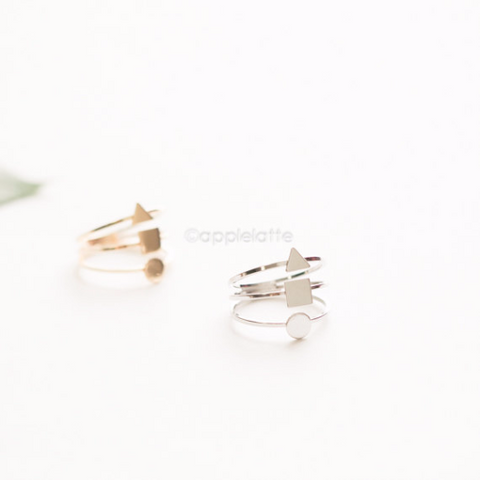geometric Ring, square ring, triangle ring, circle ring, minimalist ring, modern ring, stacking ring