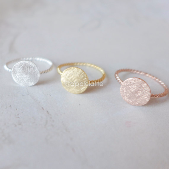 full moon round ring with twisted ring band in gold, silver or rose gold, round ring, simple ring, circle ring