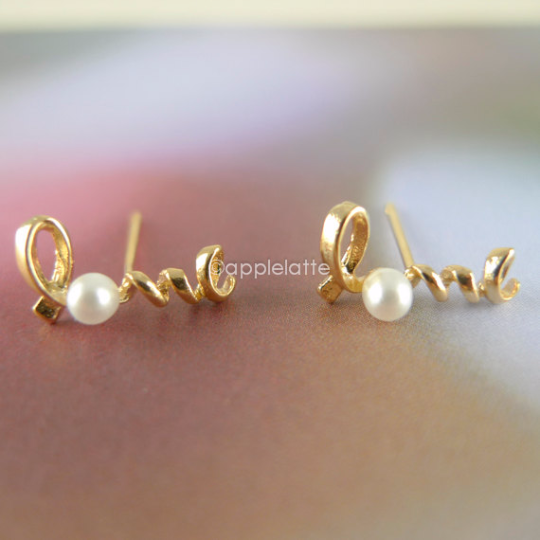 tiny pearl love earrings