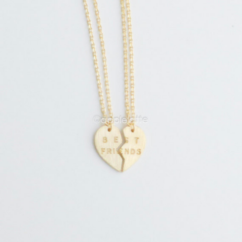 Best Friends Heart Necklace