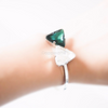 Green white Swarovski Crystal Bow Bangle Bracelet, Bow Jewelry, Bridesmaid Jewelry, large stone bracelet