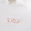 white mother of pearl butterfly earrings, white & pink butterfly post earrings, rose gold butterfly earrings, bridesmaid gift