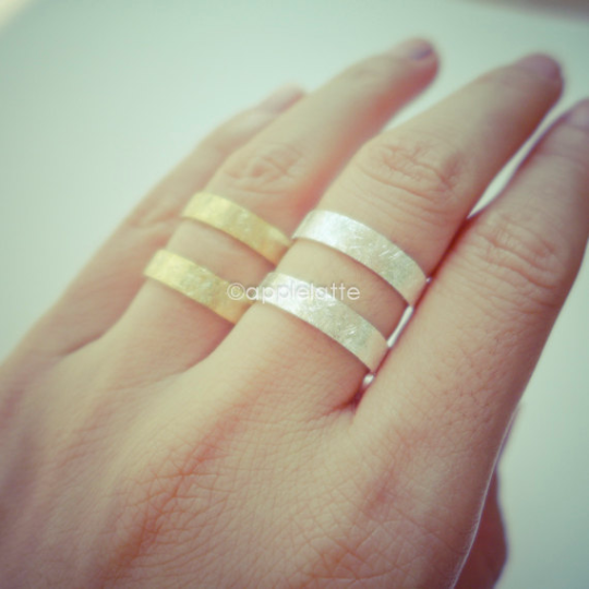 Double band ring in gold or silver, thumb ring,  line ring, simple ring, textured ring