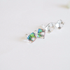 faceted glass beads post earrings in clear crystal/ multi clear, facted stone studs earrings, simple post earrings, bridesmaid gift