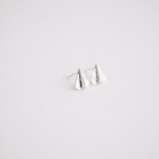 paper airplane earrings in sterling silver 925, airplane post earrings, airplane studs