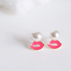hot pink kissy lip pearl earrings, kiss studs, hot pink lip post earrings, pearl earrings