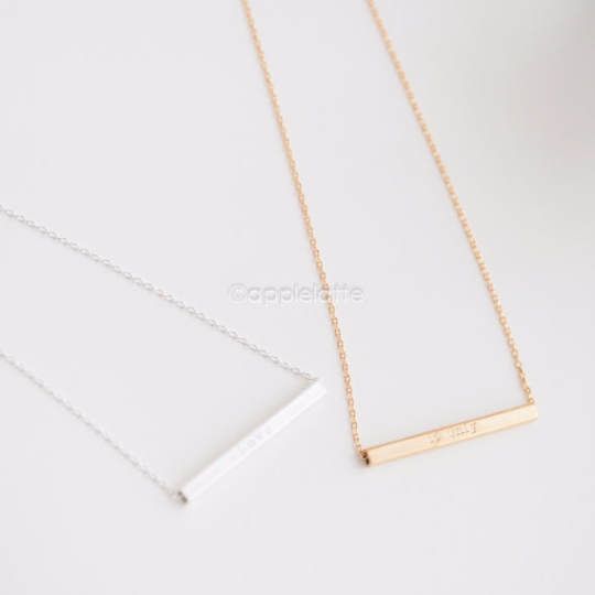"Bar Necklace with ""If only"" & ""Love"""