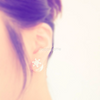 white snowflake with pearl back post earrings
