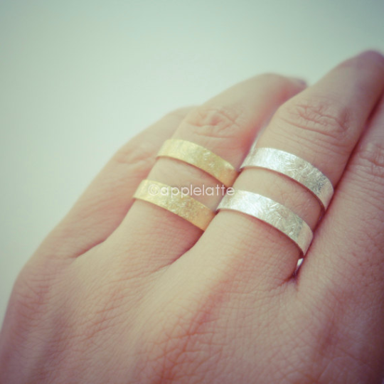 Double band ring in gold or silver thumb ring line ring simple
