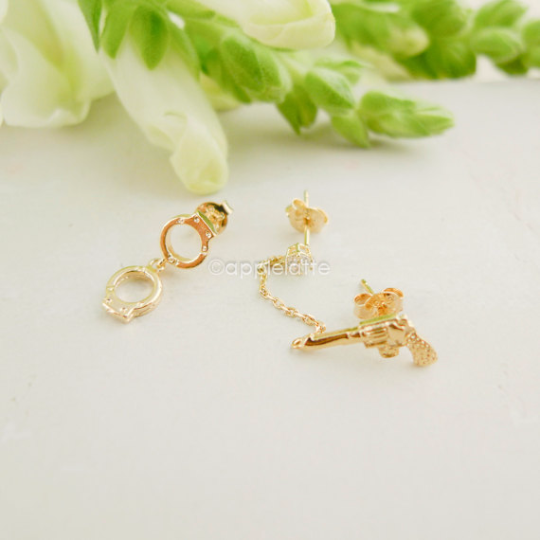 gun & handcuff earrings in gold or silver, pistol post earrings, police jewelry, sets of earrings