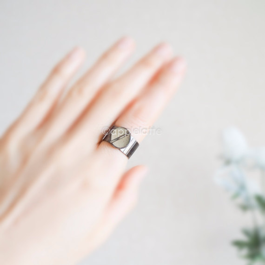 slotted industrial ring, black ring, minimal ring, thick band, nut ring , steampunk ring