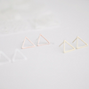 open triangle earrings in gold, silver or rose gold
