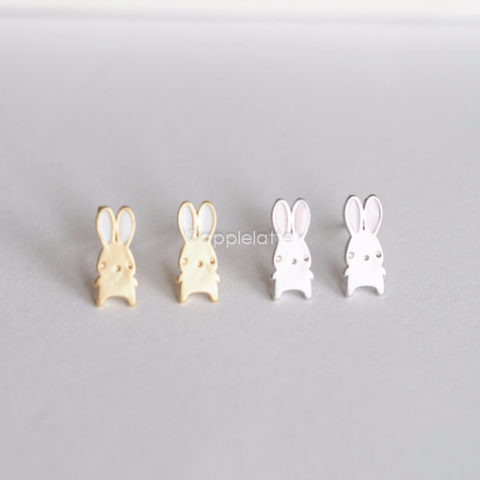 cute bunny earrings, pink bunny ears post earrings, white rabbit ears studs, rabbit earrings, bunny rabbit jewelry