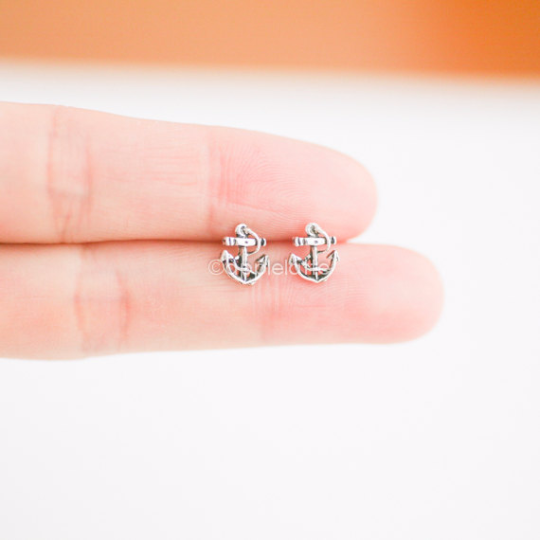 Tiny anchor earrings in sterling silver 925, anchor post earrings, anchor studs, nautical jewelry
