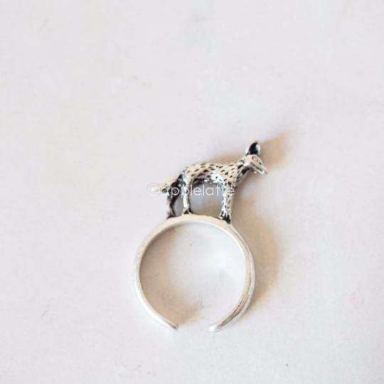 fox ring, jackal ring, animal ring, adjustable ring, metal ring
