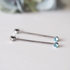 black long bar earrings with light aquamarine & clear swarovski crystal stones, bar stud earrings, black bar earrings, bar post earrings