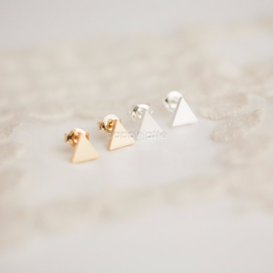 tiny triangle earrings in gold, silver, rose gold