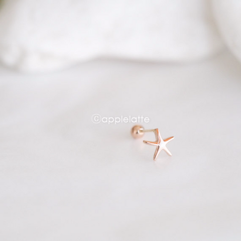 14K Solid Rose Gold Starfish Barbell Cartilage_PS079P