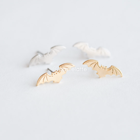 bat earrings in silver or gold, bat post earrings, vampire earrings, bat jewelry, flying fox earrings
