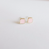 tiny baby pink square earrings, pink post, sweet earrings, simple earrings, bridesmaid earrings