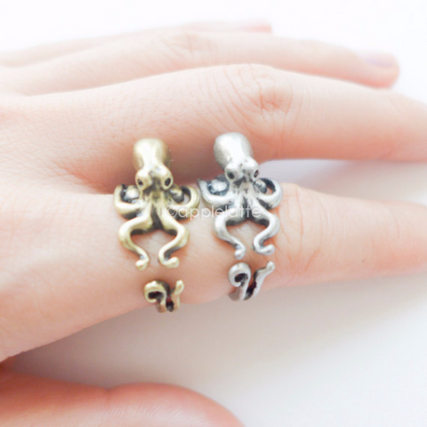 octopus ring, burnish ring, sea animal ring  size 5 ~ 9 us