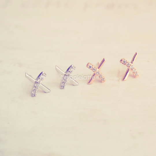 Criss Cross post earrings, Kiss post earrings, simple everyday studs earrings, bridesmaid gift