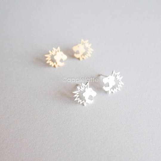Leo earrings, dainty lion post earrings, big cat earrings, lion studs, lion  jewelry