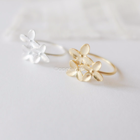 three petal ring, leaf ring, flower ring in gold or silver