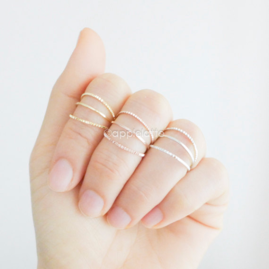 simple 3 lines midi ring, knuckle ring, simple band in gold, silver or rose gold