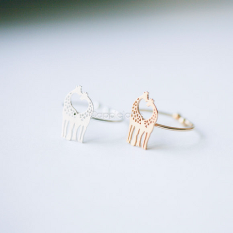 Love giraffe ring, heart giraffes ring in Gold or silver