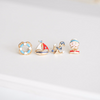 SET of four earrings, sail boat/tube/anchor/ sailor earrings, beach jewelry, summer jewelry, nautical earrings, Mis match Earrings