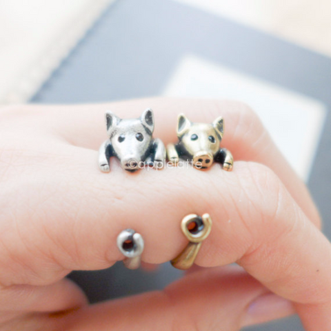 pig ring, animal ring, burnish ring, lucky ring  size 5 ~ 9 us
