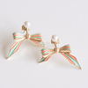 stripes bow ear jackets, bow earrings, front back earrings, ribbon earrings, mint green peach orange earrings, cute earrings, bow jewelry