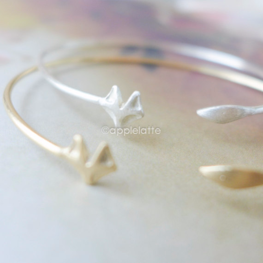 fox bracelet in gold,silver,rose gold fox cuff, fox wrapping bracelet, stretch bracelet, fox bangle