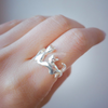 twin cat ring in sterling silver 925, cats ring, cat sisters ring, best friends ring
