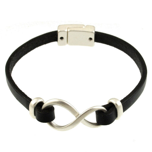 Black Leather Infinity Bracelet